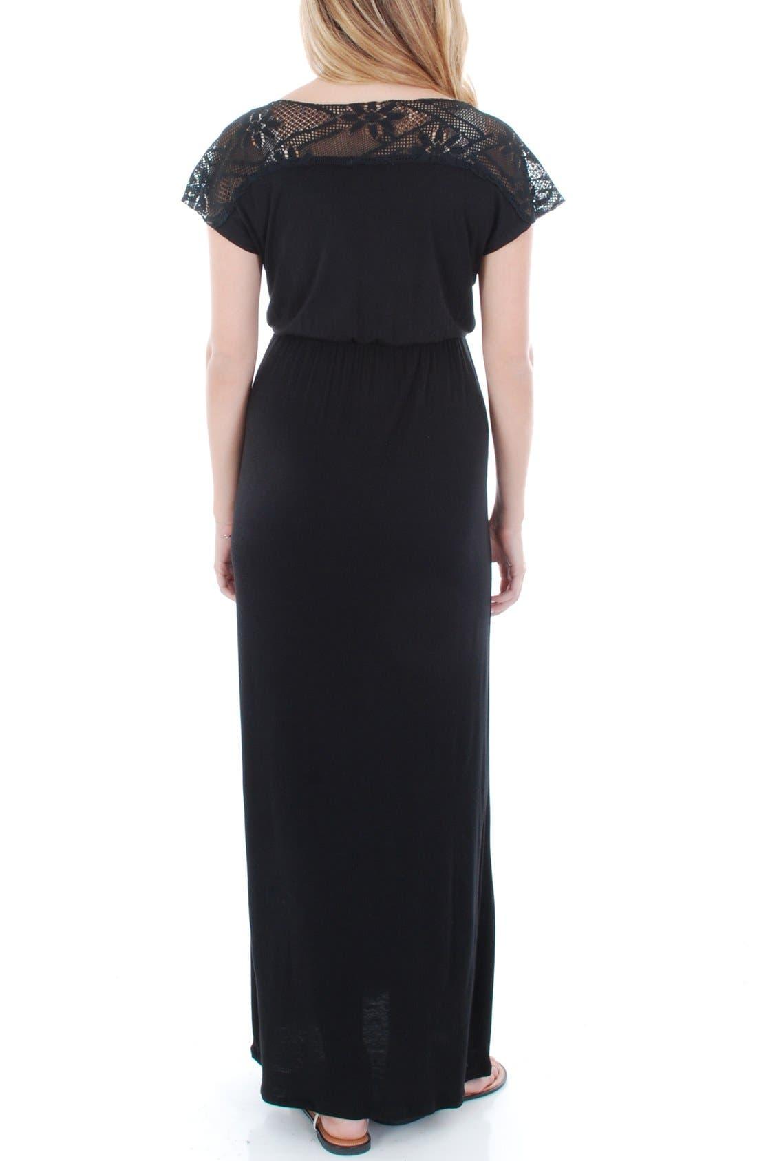 Alternate Image 2  - Everly Grey Lace Yoke Maxi Maternity Dress