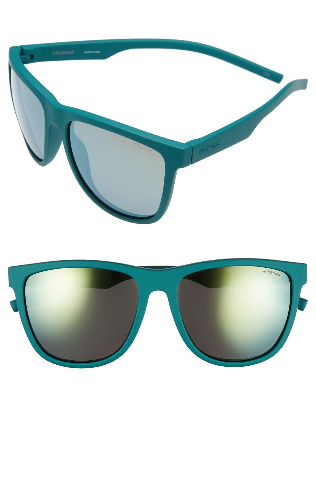 56mm Retro Polarized Sunglasses,                             Main thumbnail 1, color,                             Green/ Grey Gold Mirror
