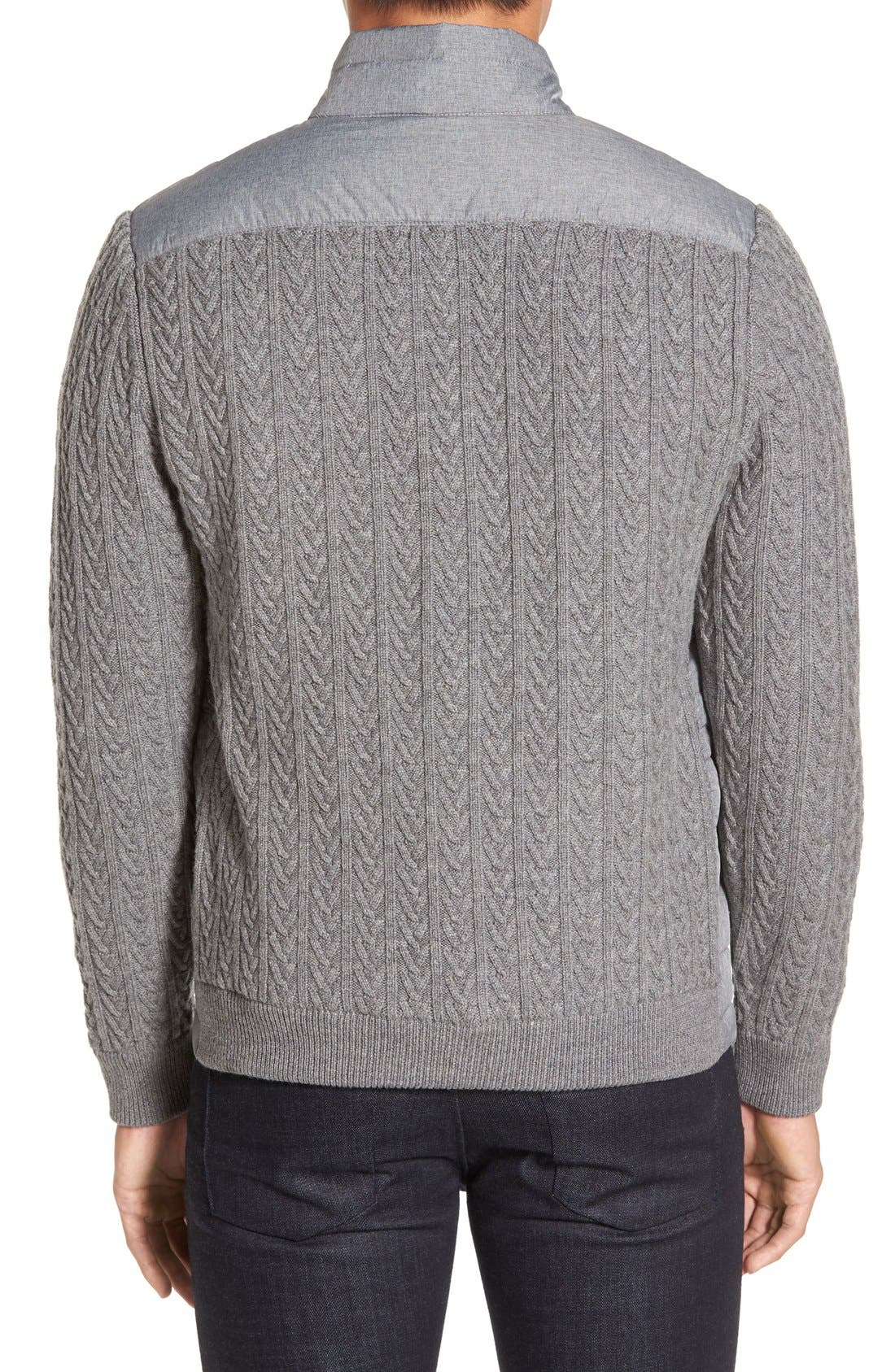 'Beacon' Trim Fit Quilted Cable Knit Zip Sweater,                             Alternate thumbnail 2, color,                             Grey