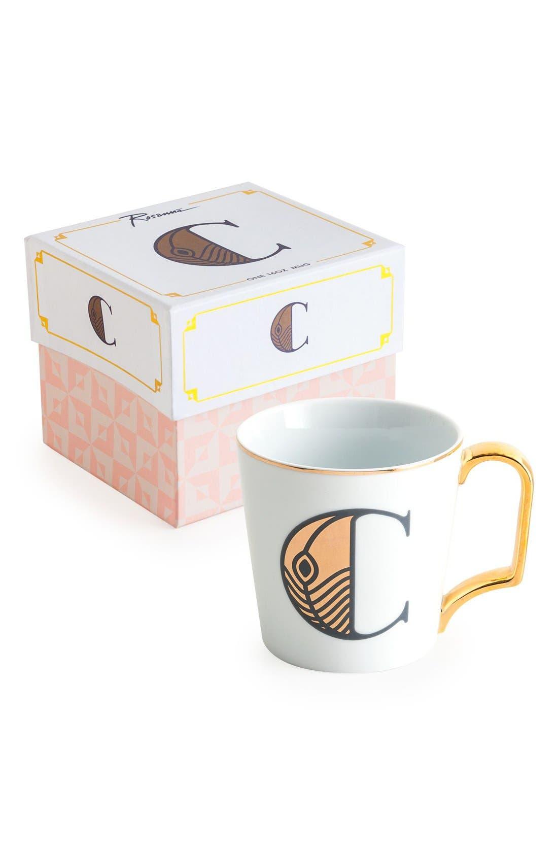 Monogram Porcelain Coffee Mug,                             Main thumbnail 1, color,                             White - C