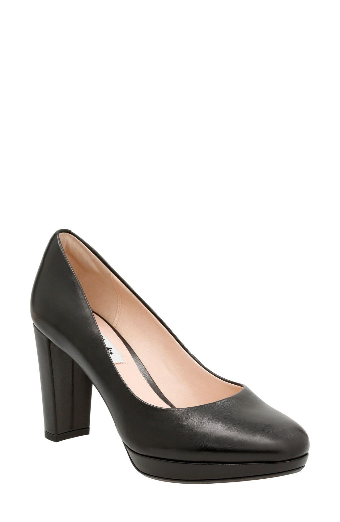 Kendra Sienna Almond Toe Pump,                             Main thumbnail 1, color,                             Black Leather