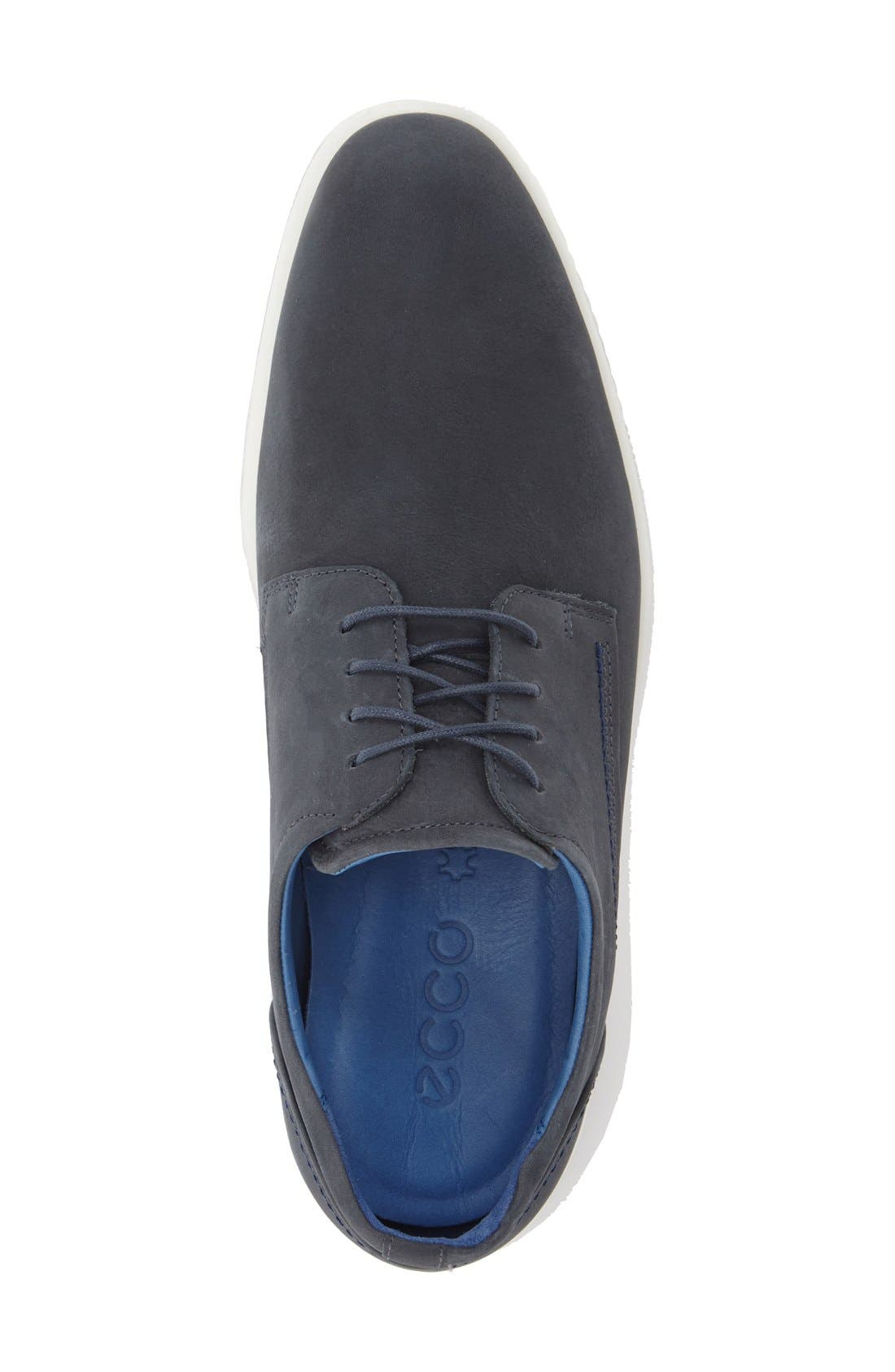 'Jared' Leather Oxford,                             Alternate thumbnail 3, color,                             Navy Leather