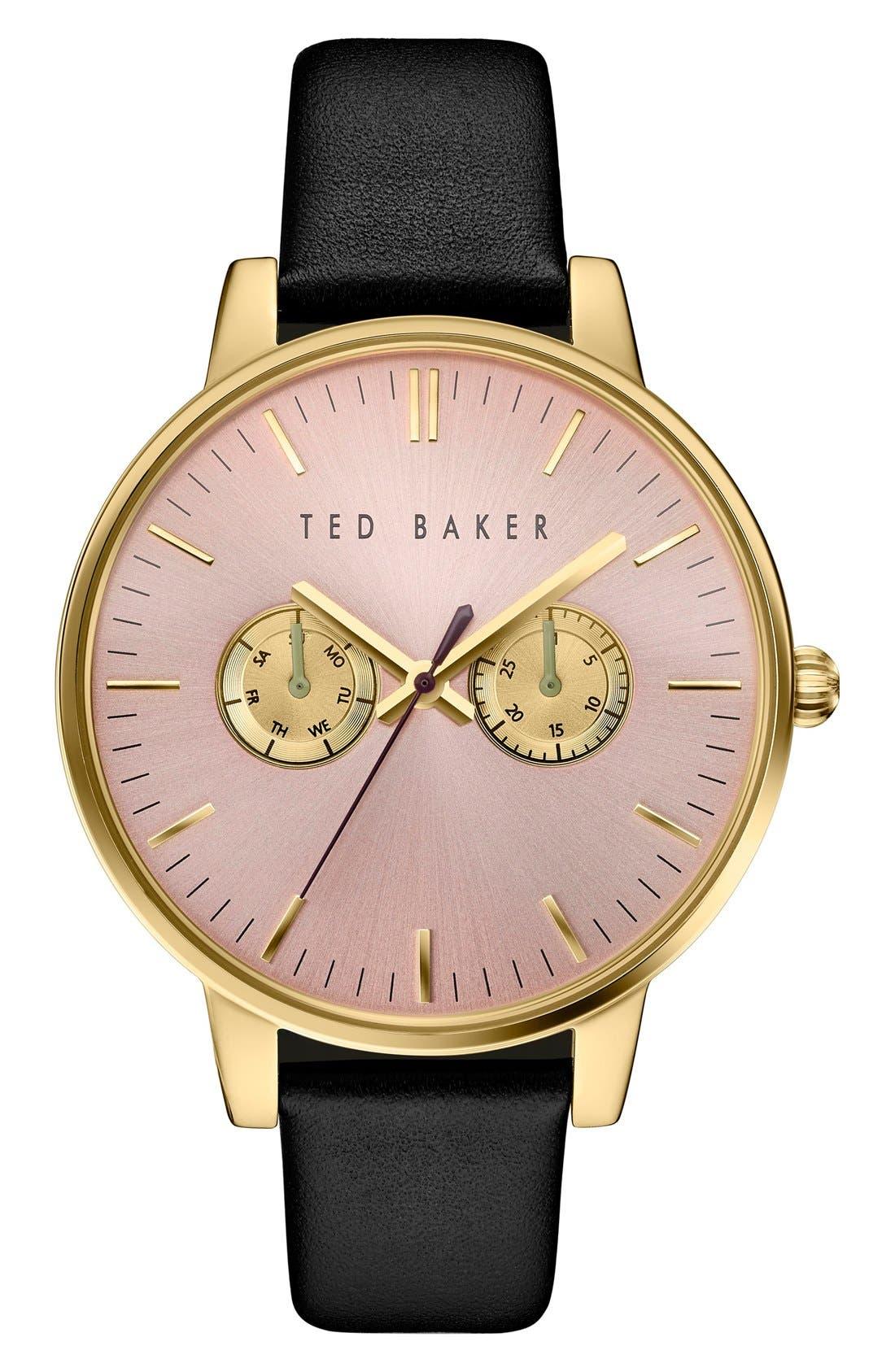 Ted Baker London 'Dress Sport' Multifunction Leather Strap Watch, 40mm