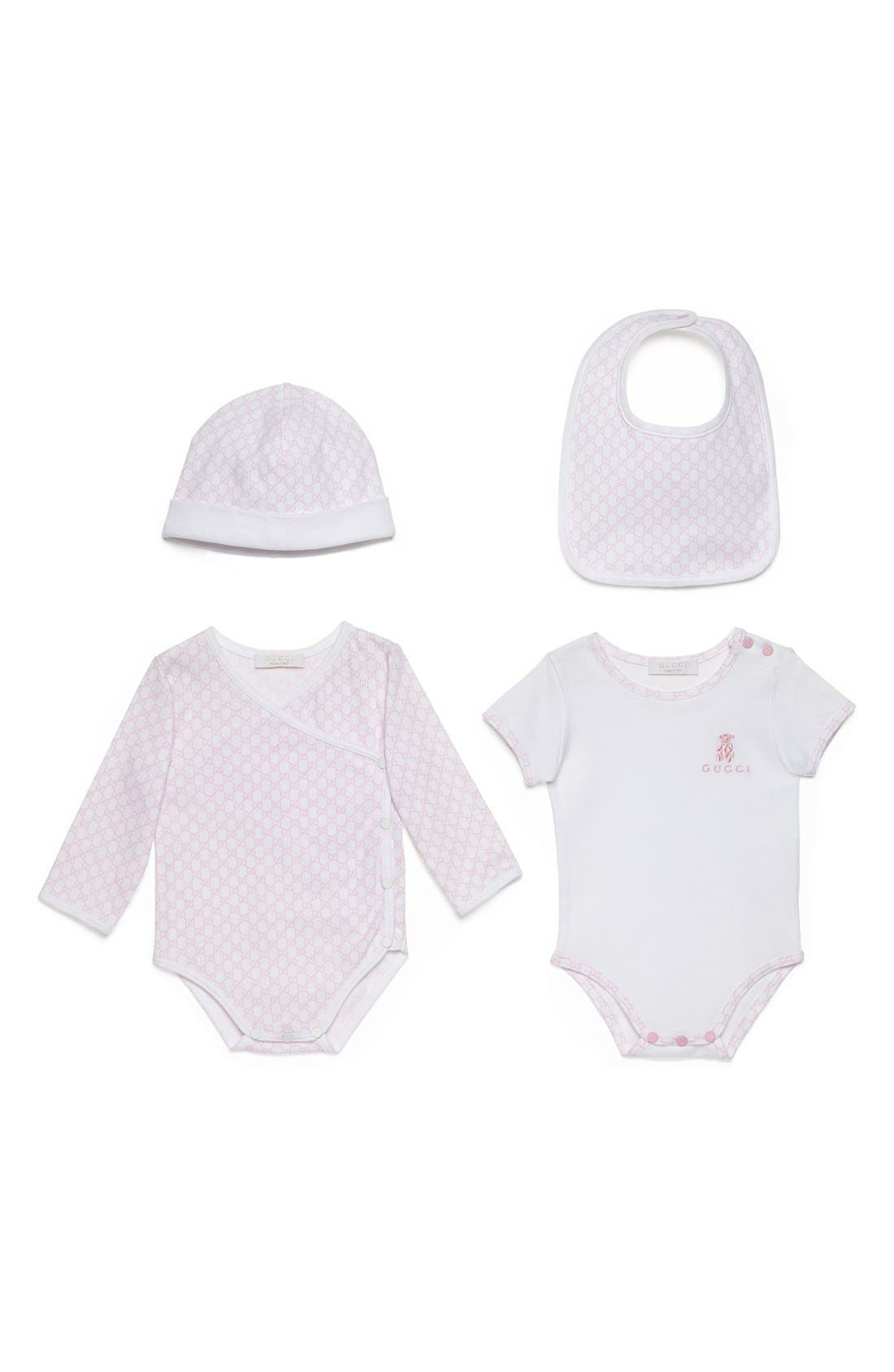 Main Image - Gucci Short Sleeve Bodysuit, Long Sleeve Bodysuit, Hat & Bib Set (Baby)