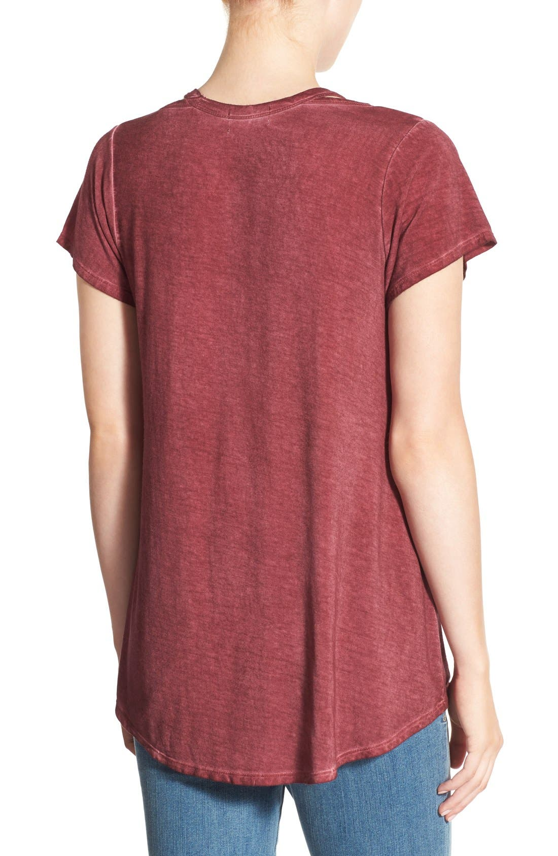 Oil Wash Cutout Tee,                             Alternate thumbnail 2, color,                             Red Cordovan