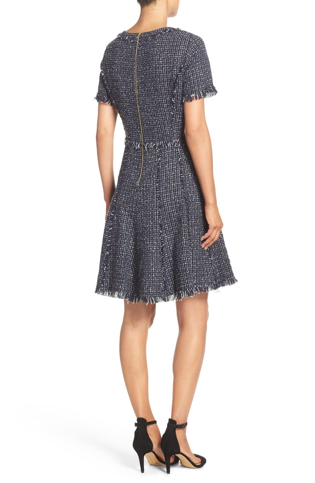 Tweed Fit & Flare Dress,                             Alternate thumbnail 3, color,                             Navy