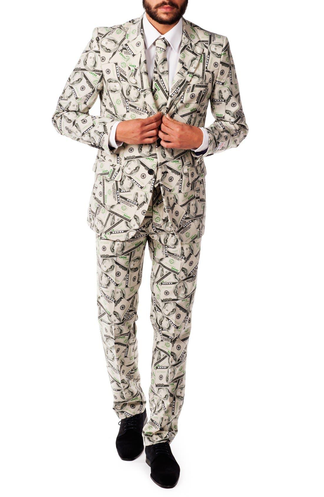 'Cashanova' Trim Fit Suit with Tie,                         Main,                         color, Beige