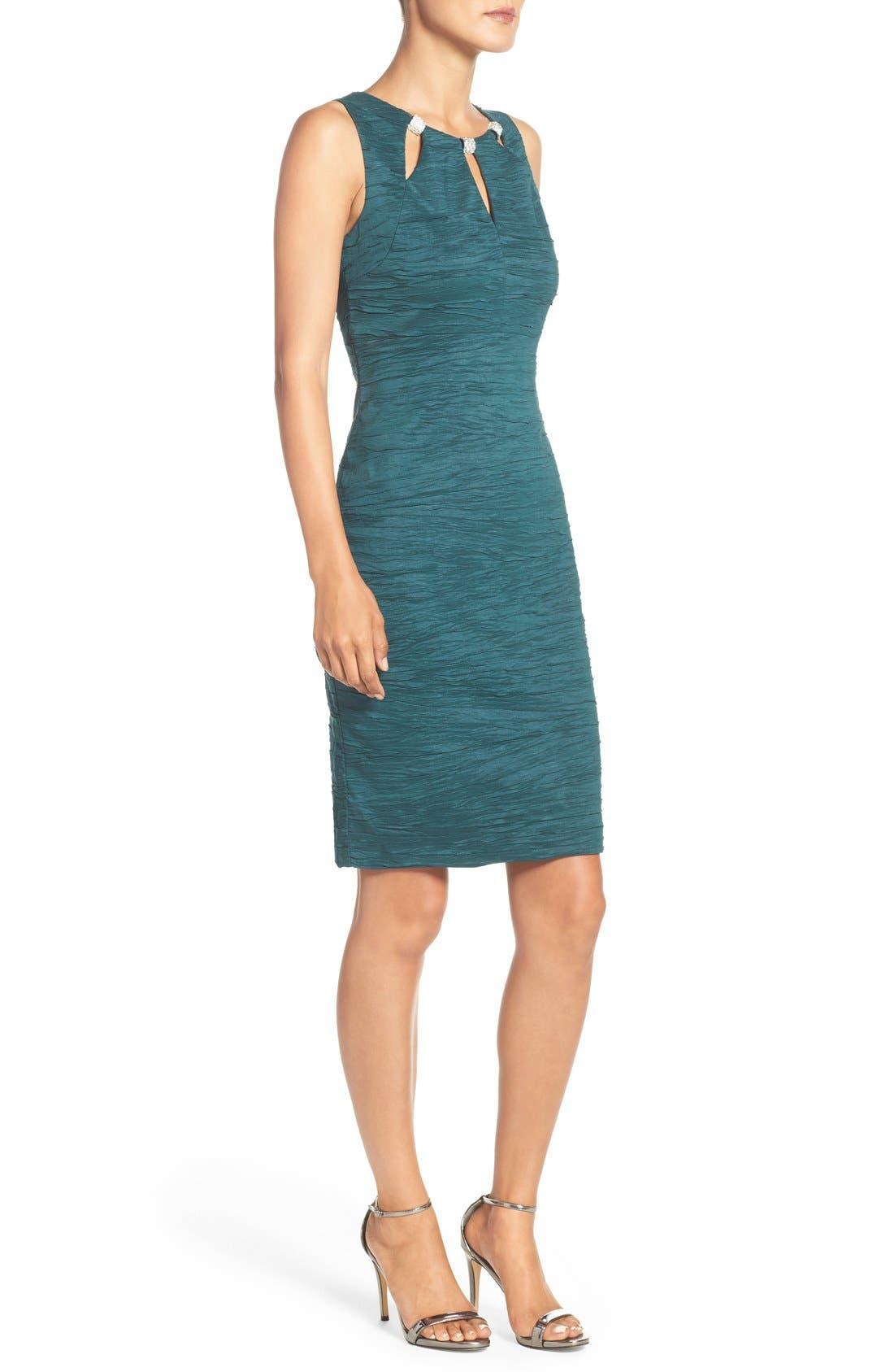 Alternate Image 3  - Eliza J Embellished Cutout Taffeta Sheath Dress (Regular & Petite)