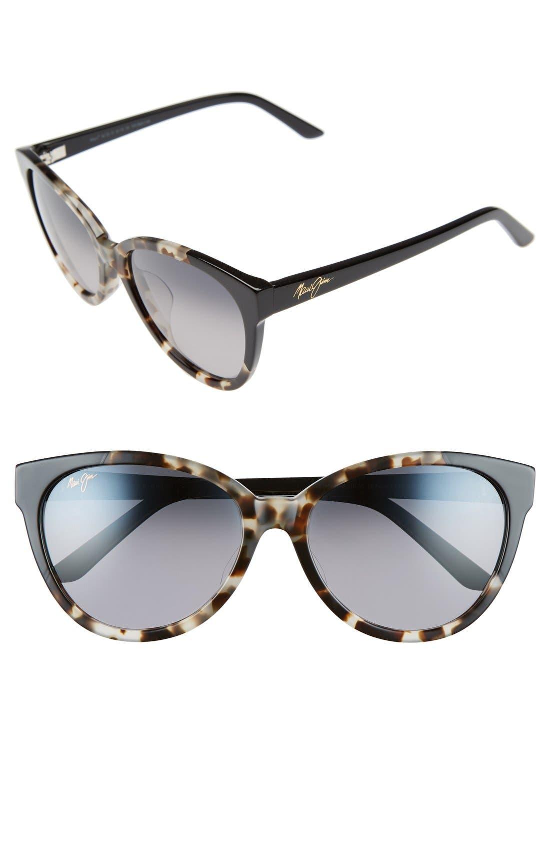 Sunshine 56mm PolarizedPlus2<sup>®</sup> Sunglasses,                         Main,                         color, White Tokyo/ Gloss Black/ Grey