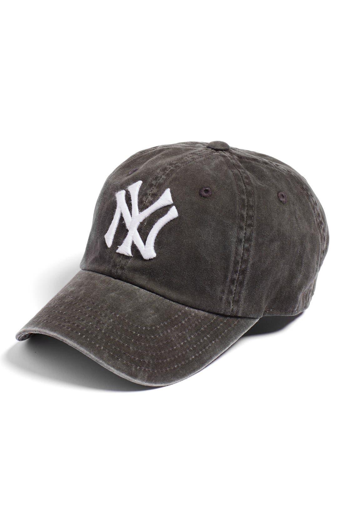 New Raglan New York Yankees Baseball Cap,                         Main,                         color, Black