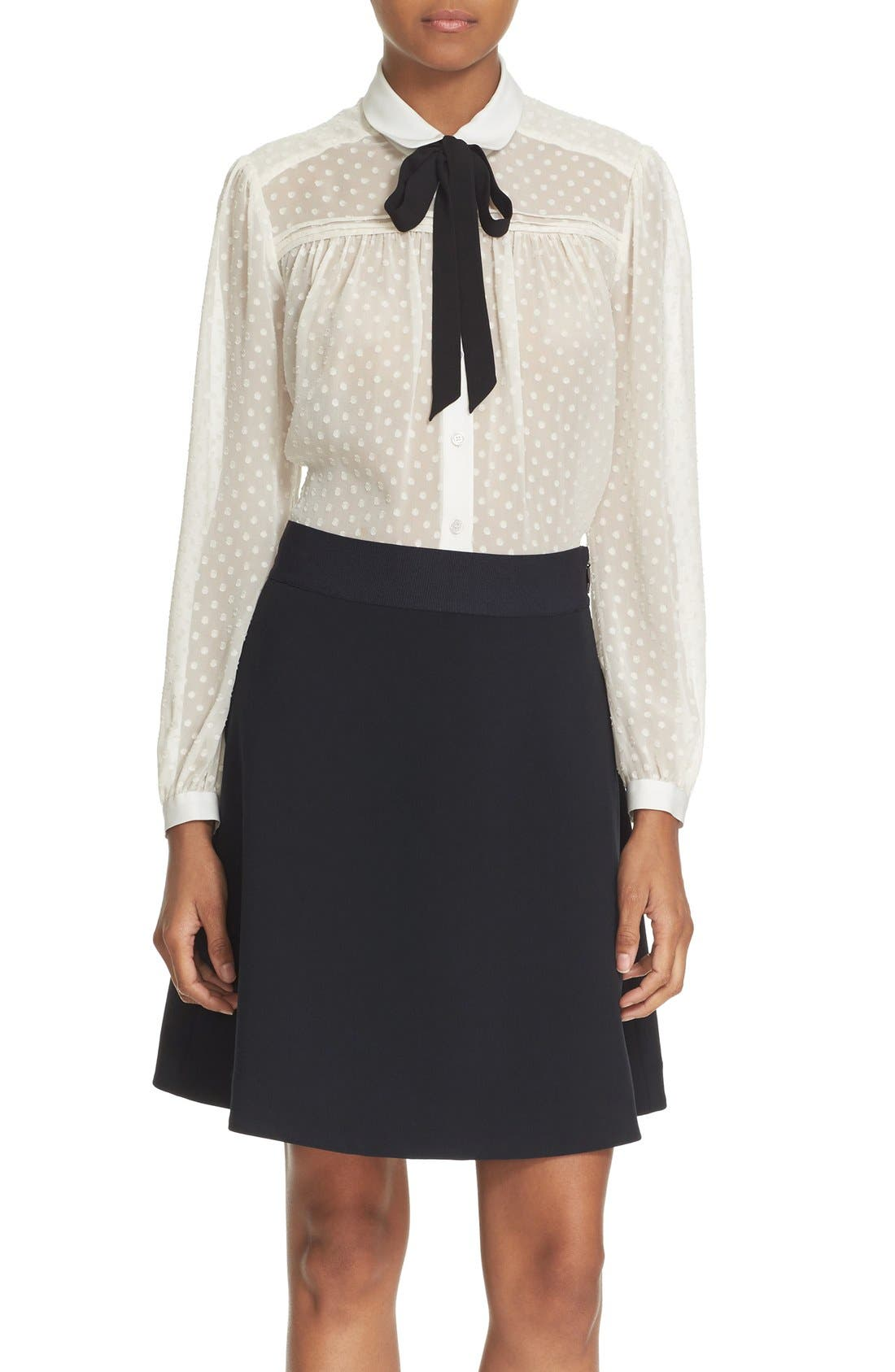 Alternate Image 1 Selected - kate spade new york clipped chiffon bow blouse