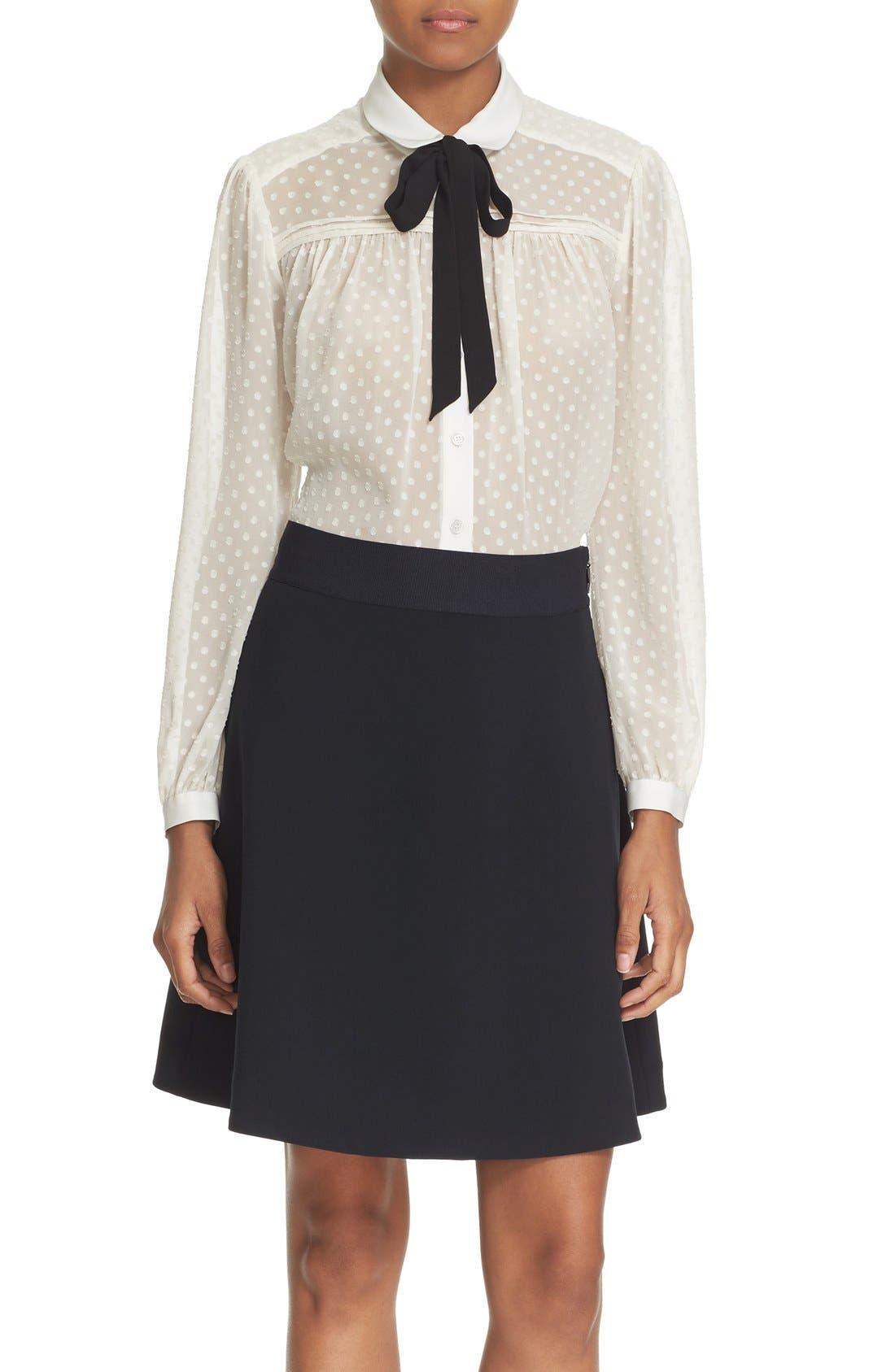 Main Image - kate spade new york clipped chiffon bow blouse