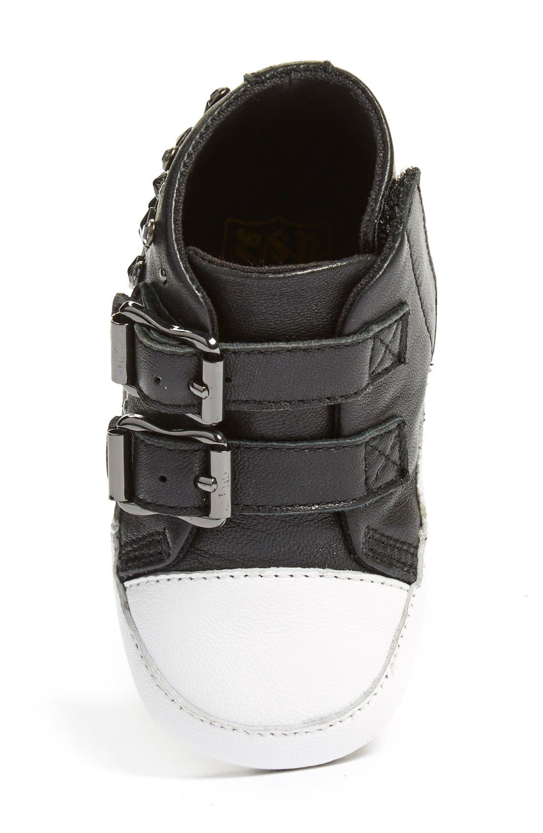'Viper' High Top Crib Shoe,                             Alternate thumbnail 3, color,                             Black Leather