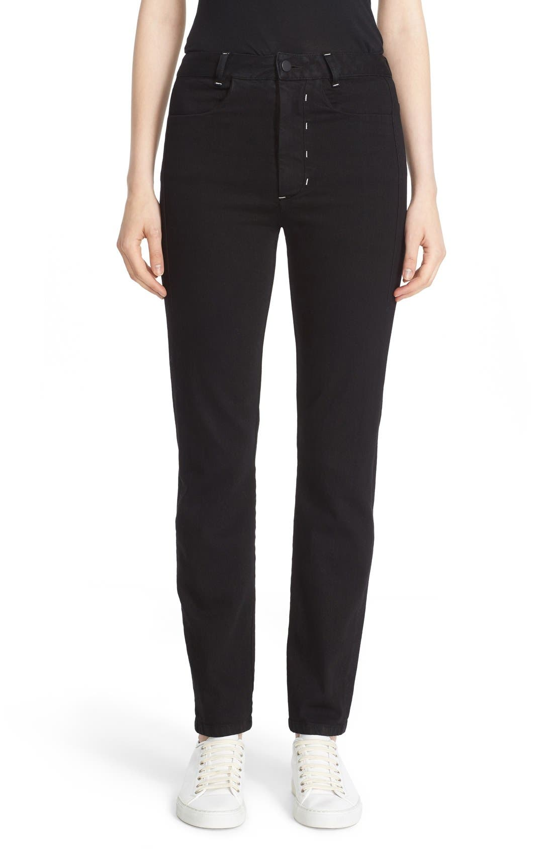 Stovepipe Stretch Jeans,                         Main,                         color, Black