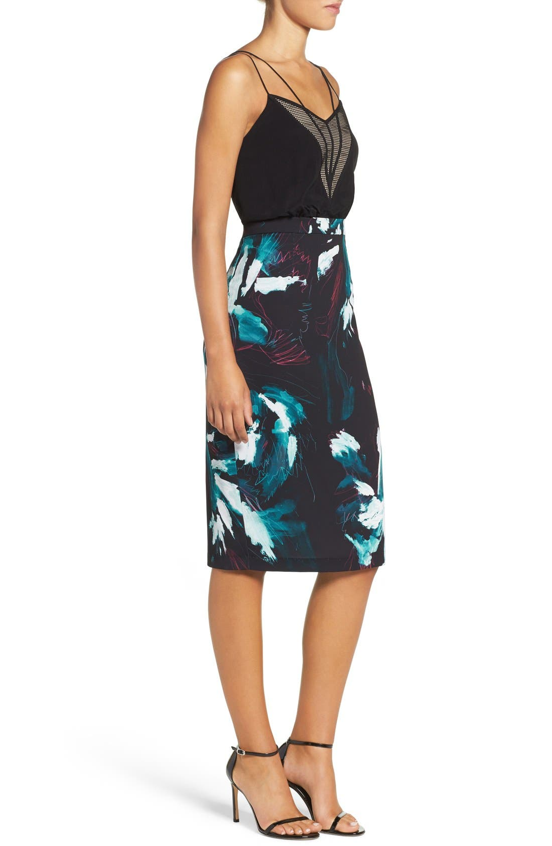 Strappy Print Dress,                             Alternate thumbnail 4, color,                             Black Sketch Floral Print