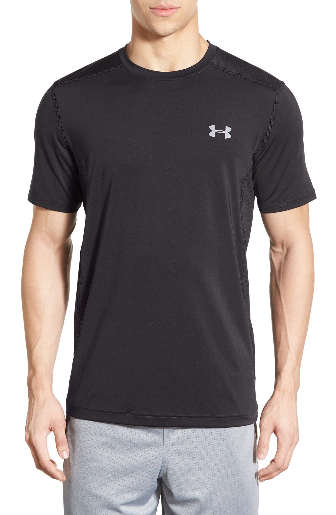 'Raid' HeatGear<sup>®</sup> Training T-Shirt,                             Main thumbnail 1, color,                             Black/ Black/ Graphite