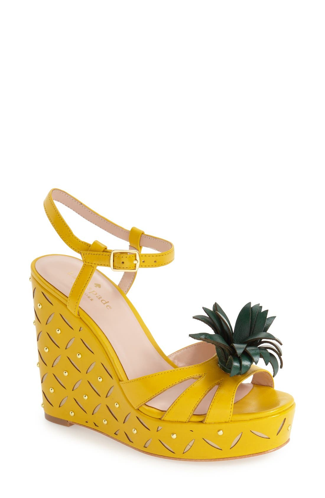 'dominica' pineapple wedge sandal,                             Main thumbnail 1, color,                             Dark Yellow Vachetta