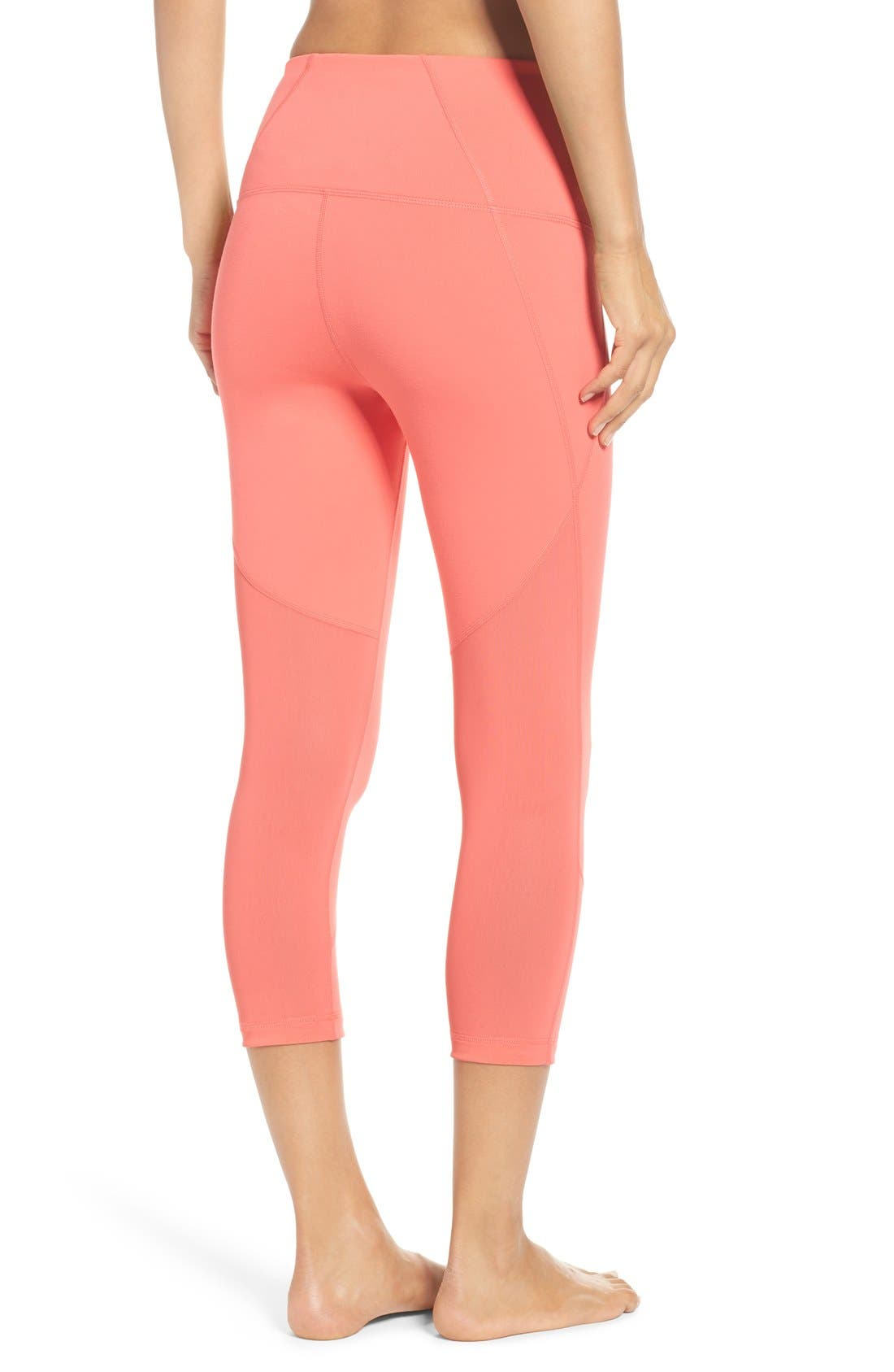 Main Image - Zella 'Live In - Sultry' High Waist Mesh Crop Leggings
