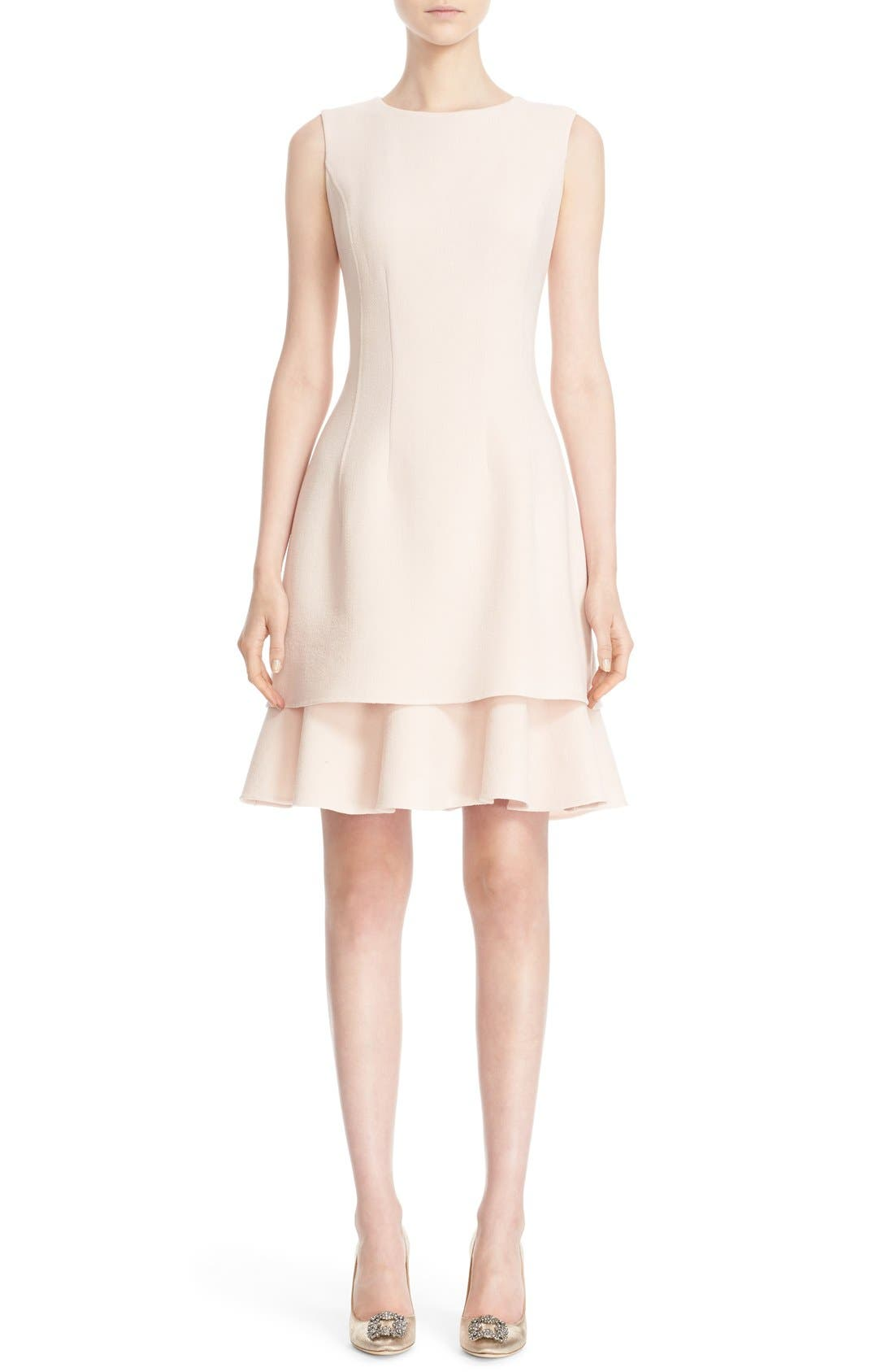 Main Image - Oscar de la Renta Tiered Ruffle Hem Dress