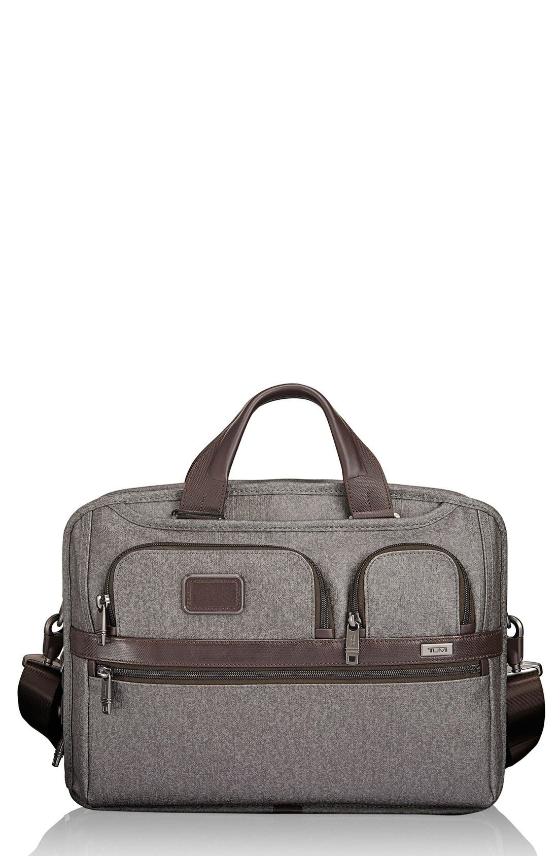 'Alpha 2' T-Pass<sup>®</sup> Coated Canvas Briefcase,                         Main,                         color, Earl Grey
