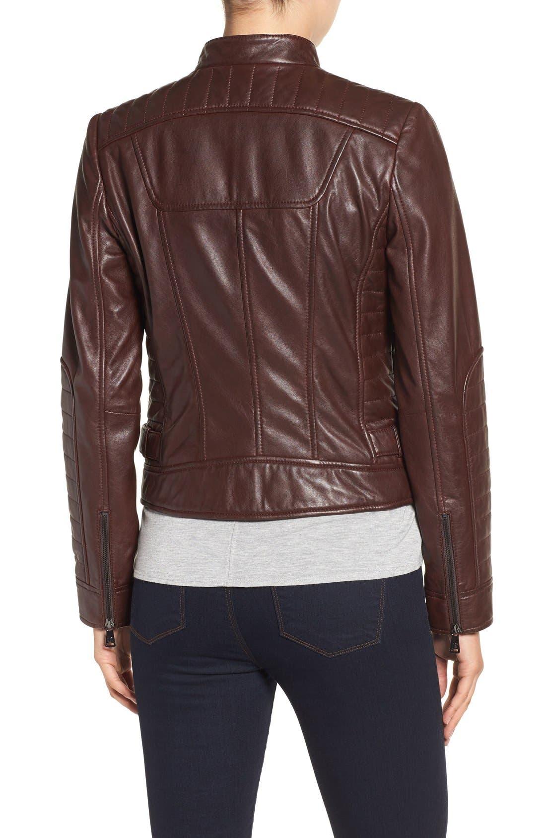 Alternate Image 3  - Bernardo Quilted Leather Moto Jacket (Regular & Petite)