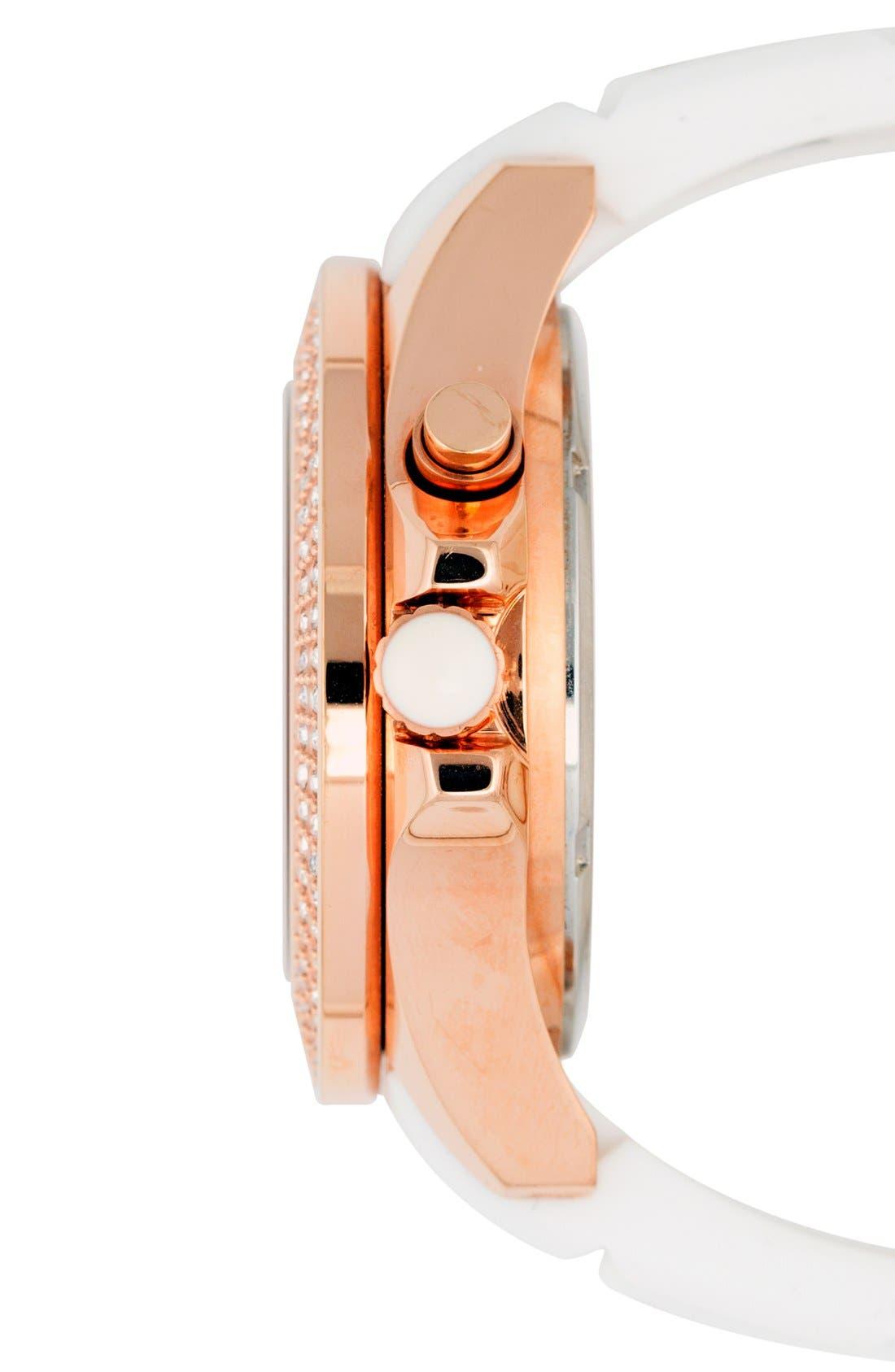 Alternate Image 3  - KYBOE! 'Radiant' Crystal Bezel Silicone Strap Watch, 40mm