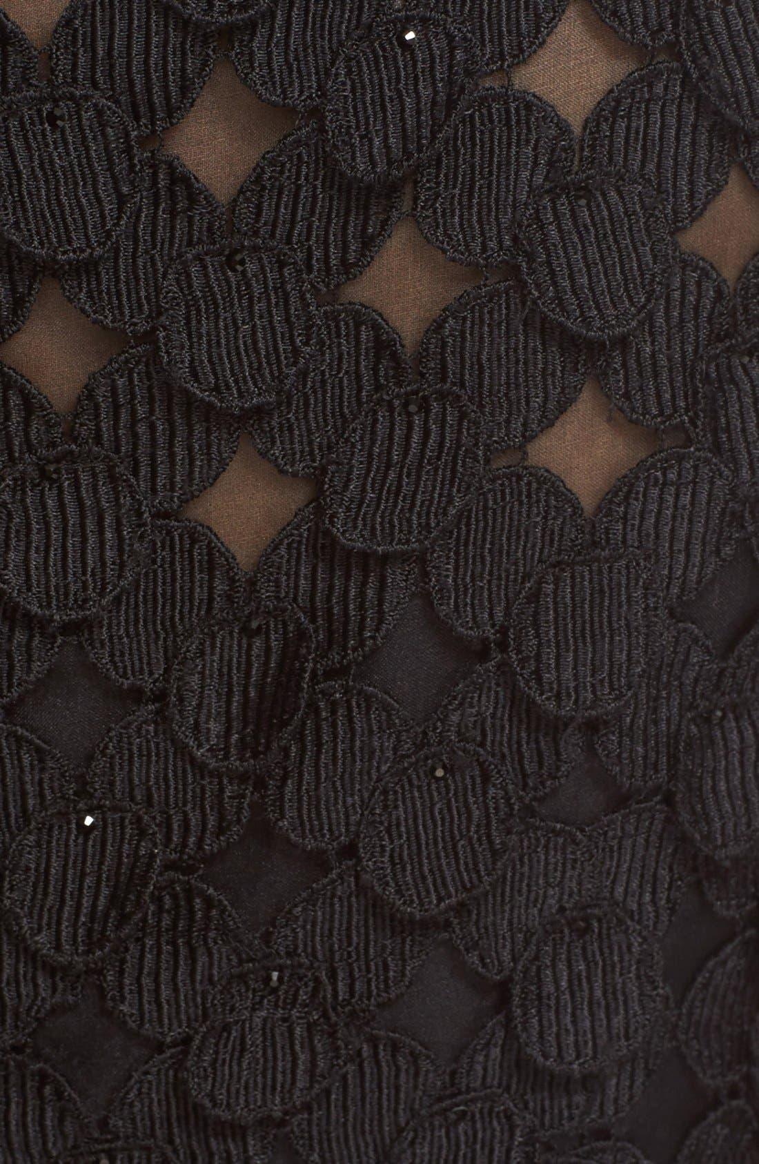 Circle Appliqué Sleeveless Sheath Dress,                             Alternate thumbnail 3, color,                             Black