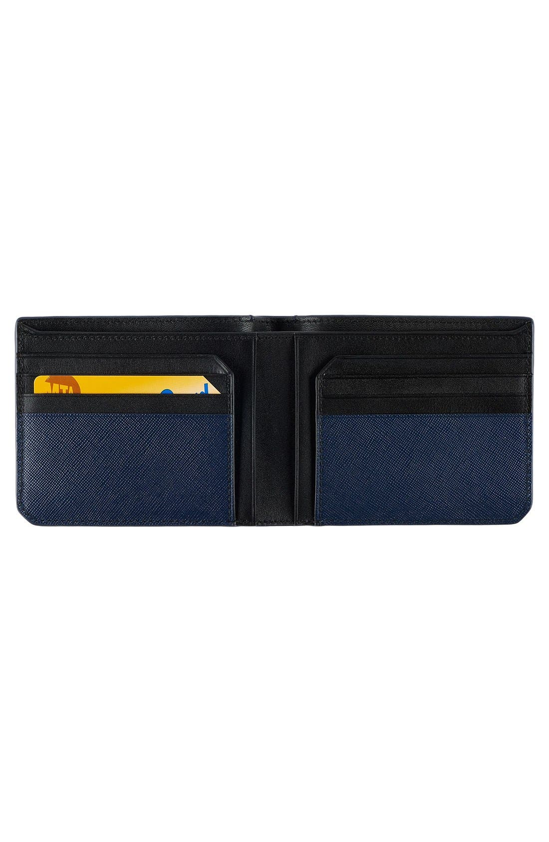Leather Wallet,                             Alternate thumbnail 2, color,                             Indigo
