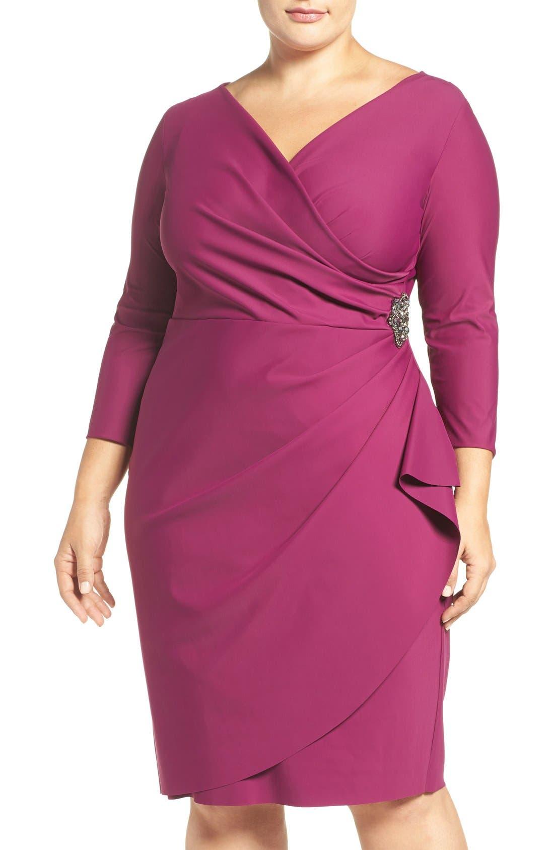 Embellished Surplice Sheath Dress,                         Main,                         color, Passion