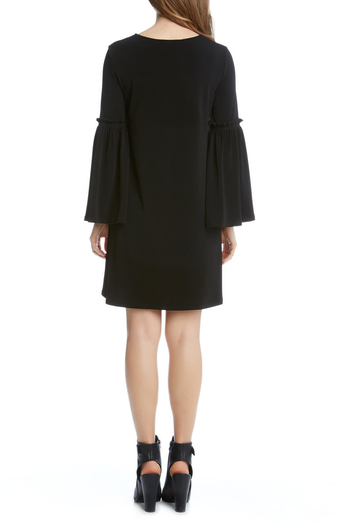 Bell Sleeve A-Line Dress,                             Alternate thumbnail 2, color,                             Black