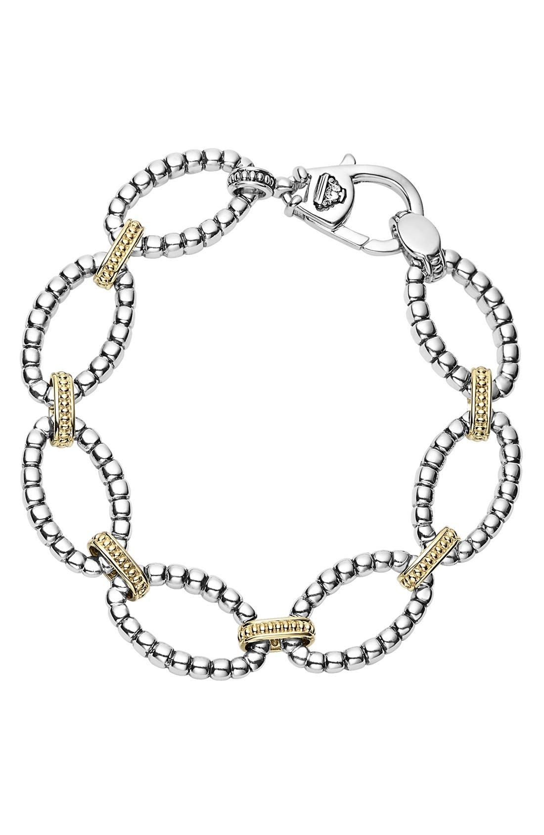 Two-Tone Link Bracelet,                         Main,                         color, Silver/ Gold