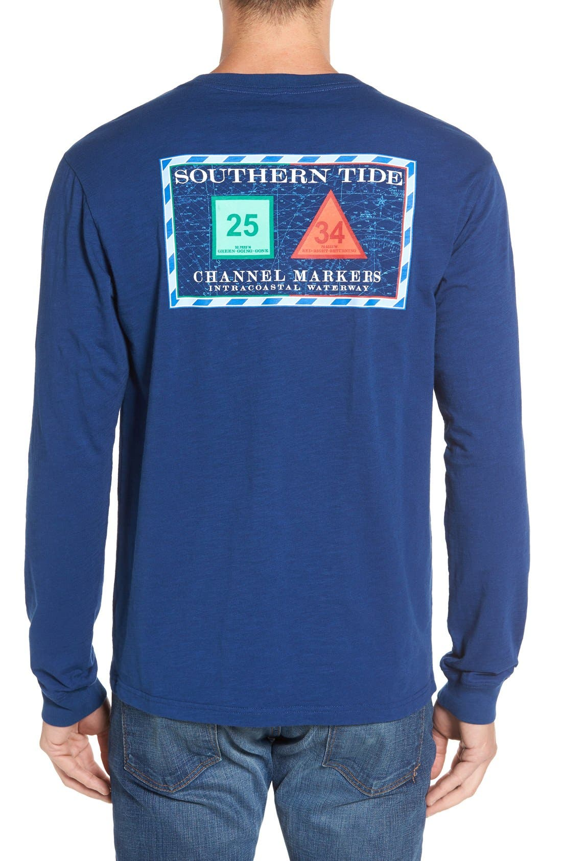 'Channel Marker' Graphic Pocket Long Sleeve T-Shirt,                         Main,                         color, Yacht Blue