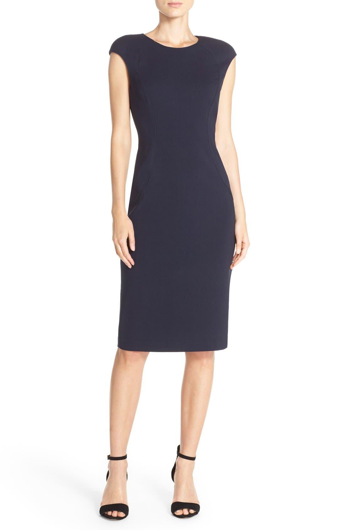 Cap Sleeve Crepe Sheath Dress,                             Main thumbnail 1, color,                             Navy