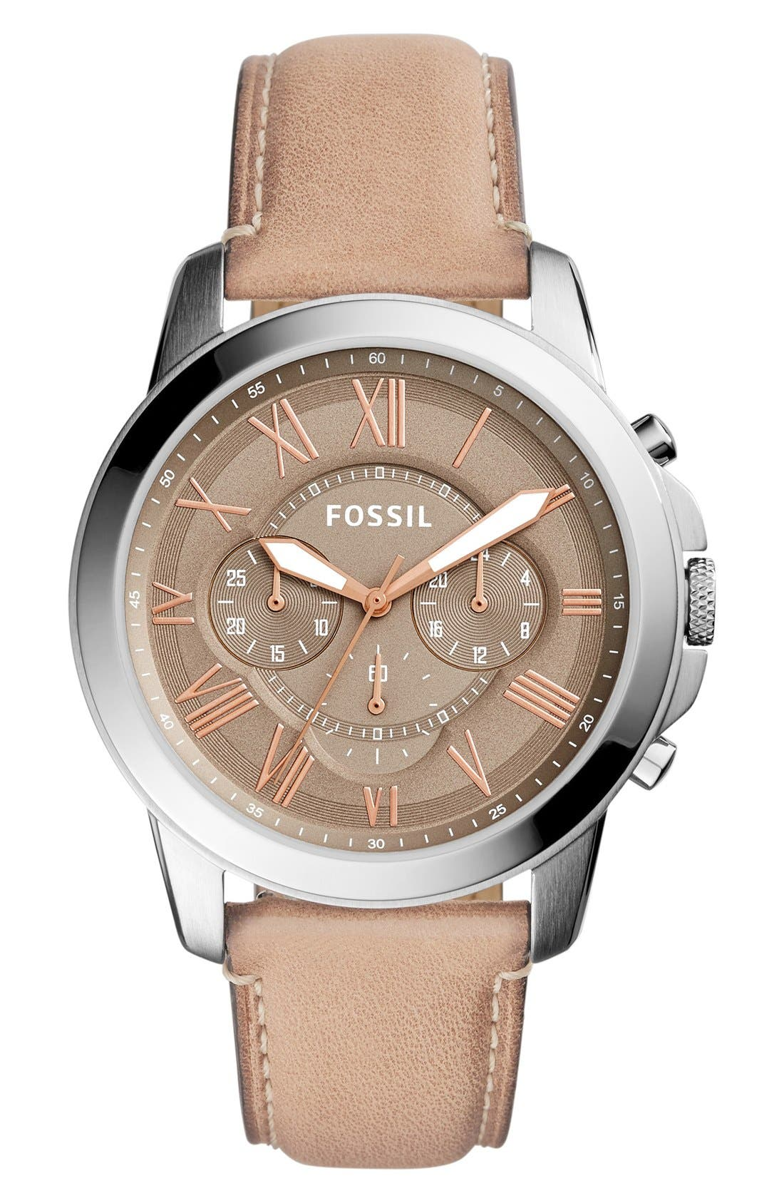 Main Image - Fossil 'Grant' Round Chronograph Leather Strap Watch, 44mm