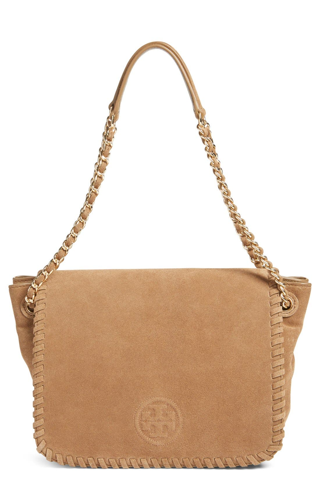 Alternate Image 1 Selected - Tory Burch 'Small Marion' Suede Shoulder Bag
