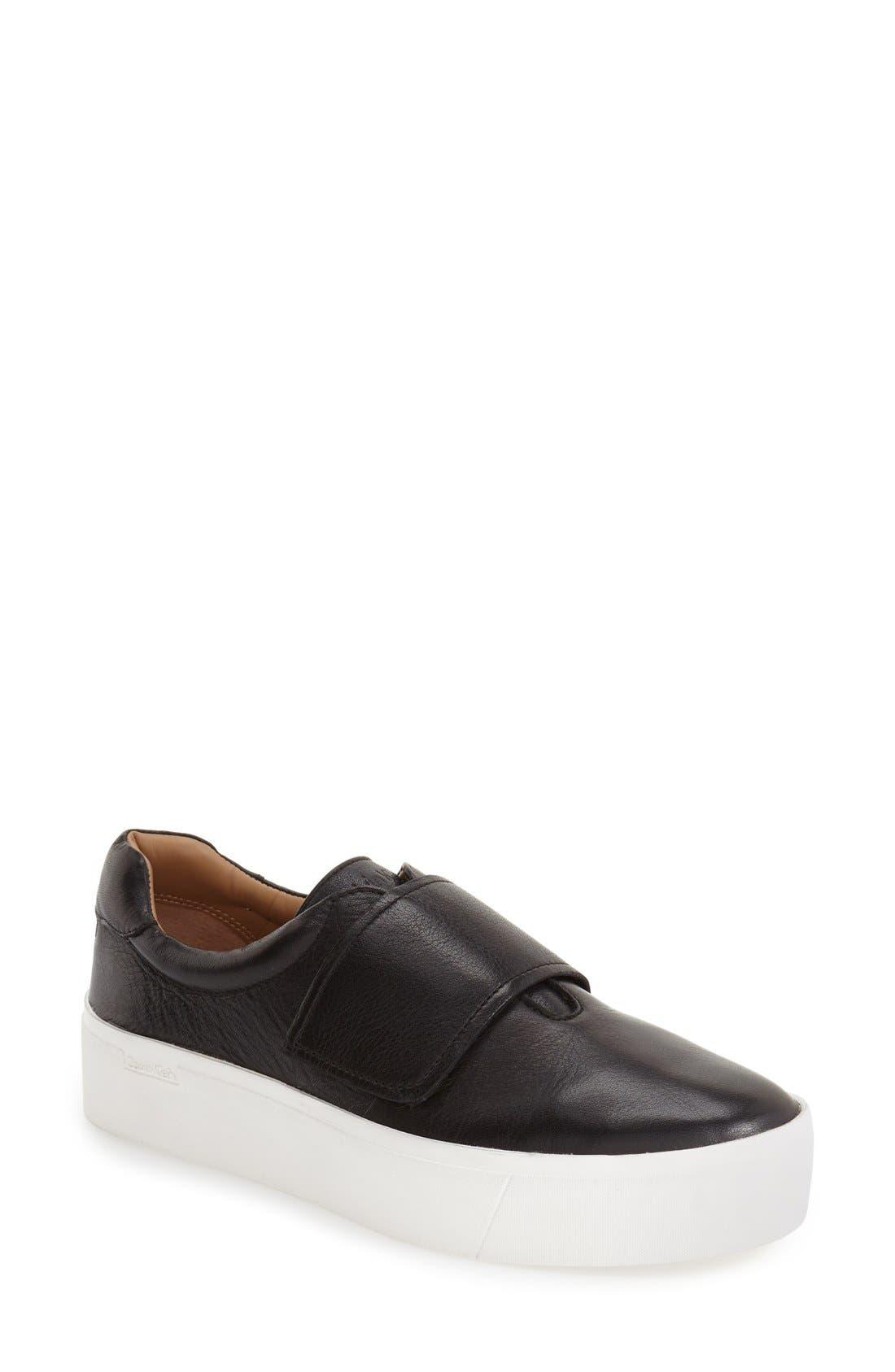 'Jaiden' Platform Sneaker,                             Main thumbnail 1, color,                             Black Leather