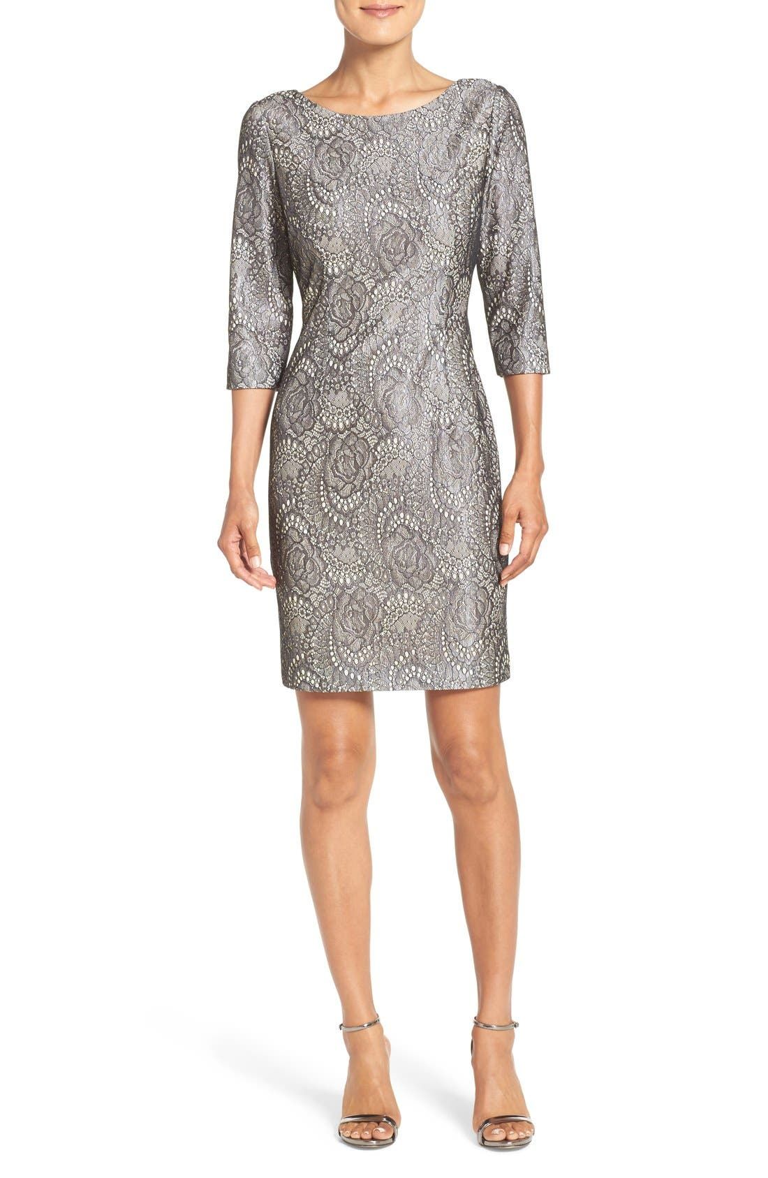 Alternate Image 1 Selected - Eliza J Bonded Lace Sheath Dress