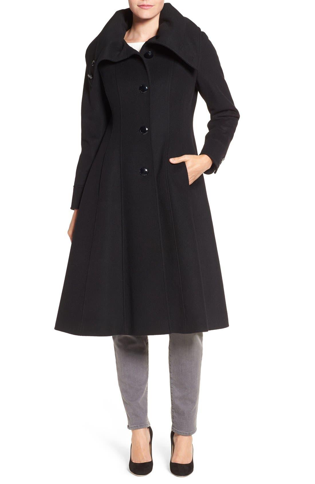 High Neck Wool Blend Long Coat,                         Main,                         color, Black