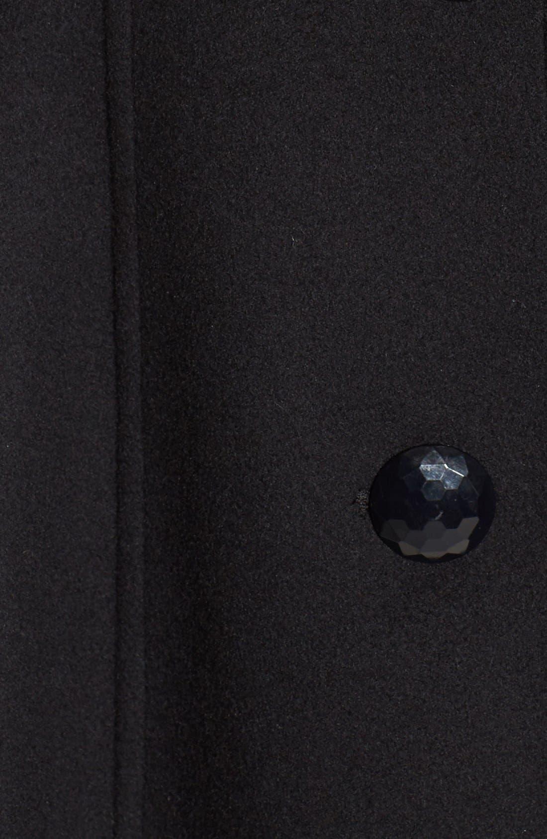High Neck Wool Blend Long Coat,                             Alternate thumbnail 5, color,                             Black