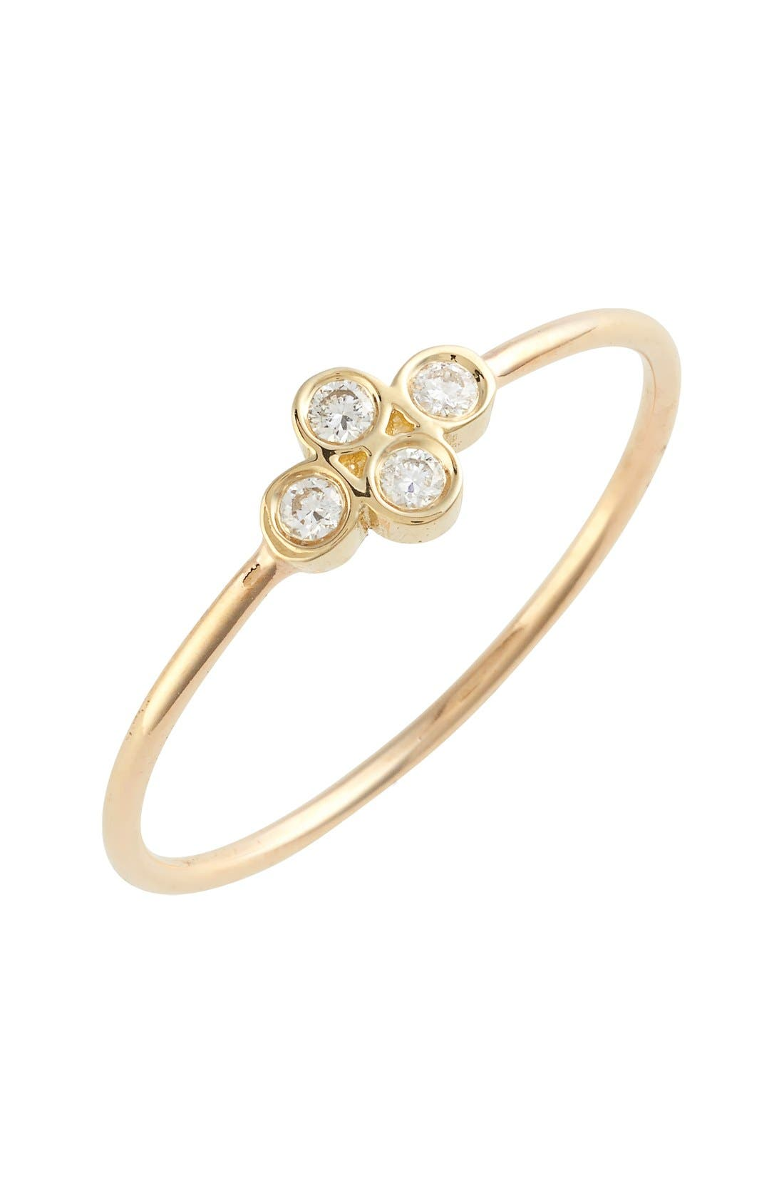 Diamond Bezel Ring,                             Main thumbnail 1, color,                             Yellow Gold