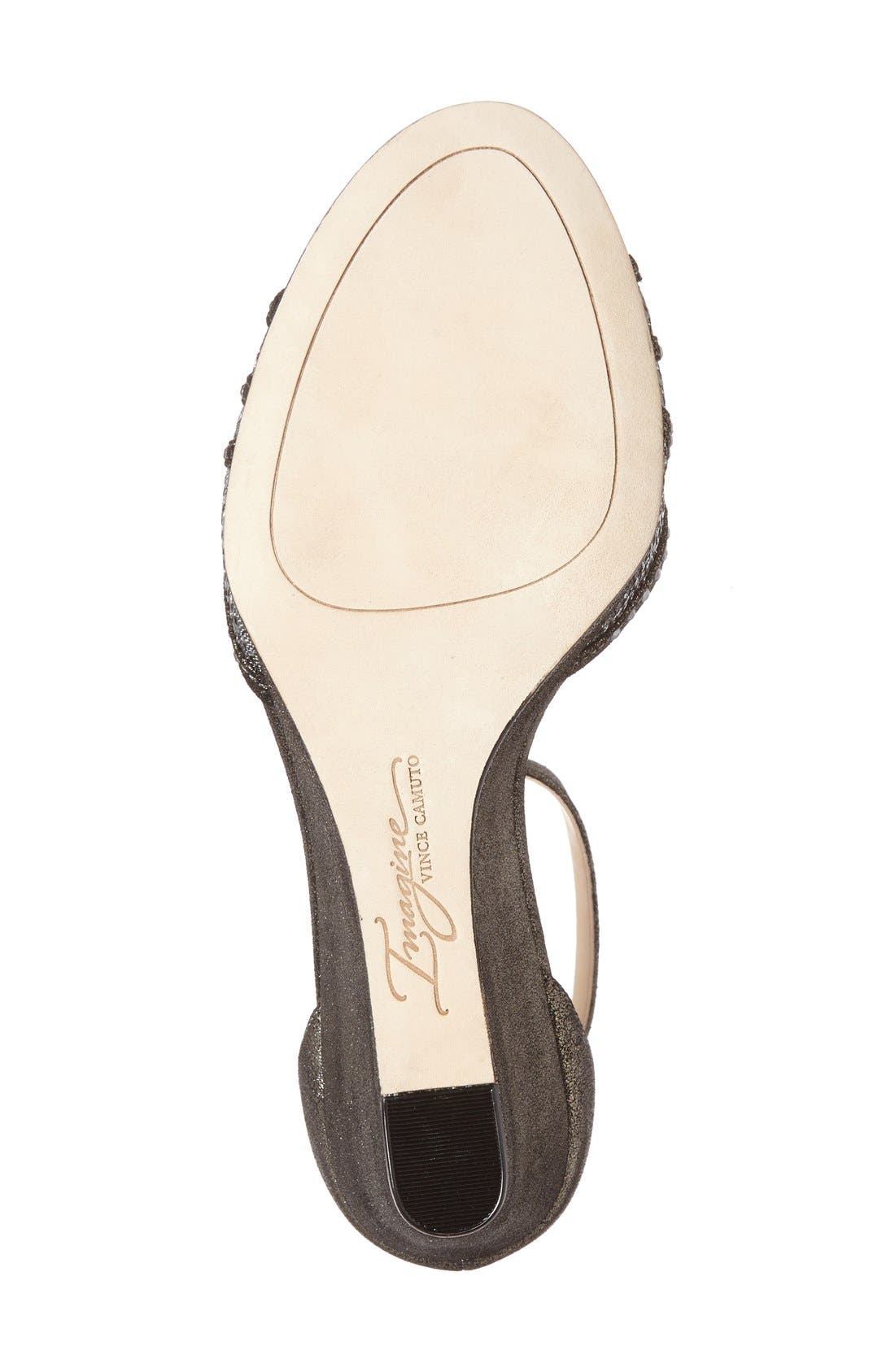 'Joan' Studded Wedge Sandal,                             Alternate thumbnail 4, color,                             Anthracite Suede