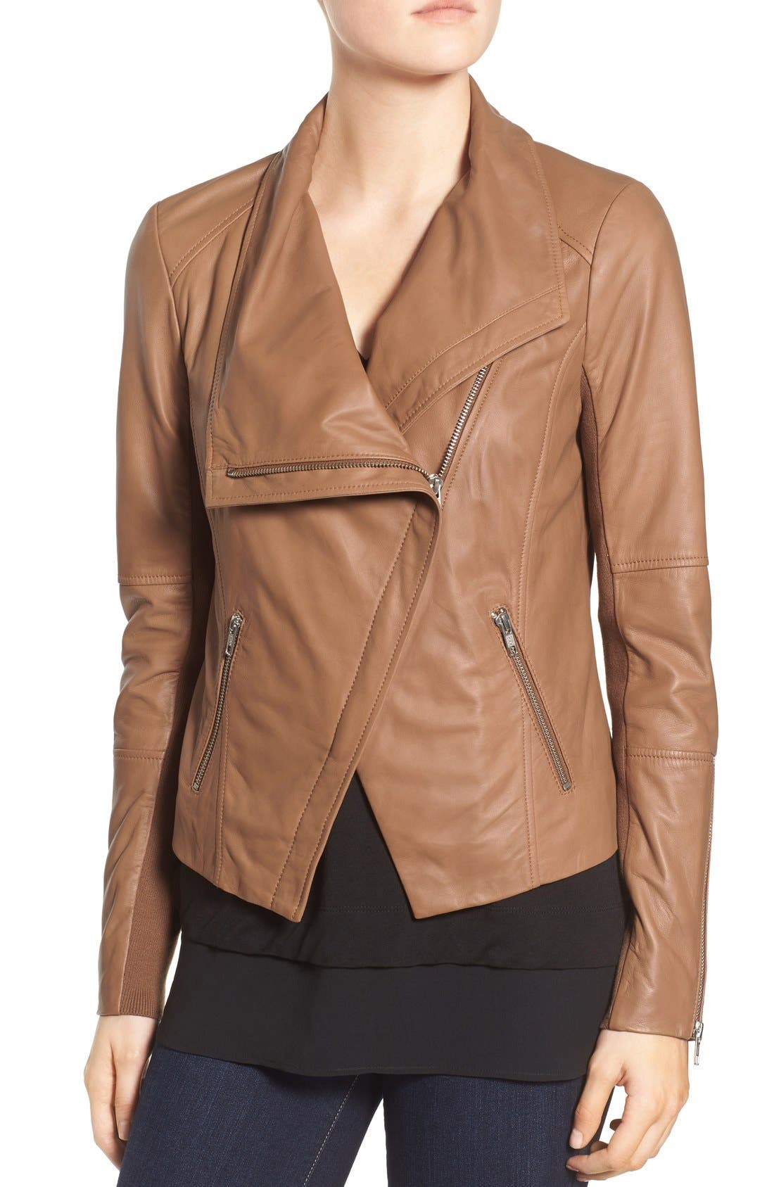 Drape Front Leather Jacket,                             Alternate thumbnail 4, color,                             Brown Saddle