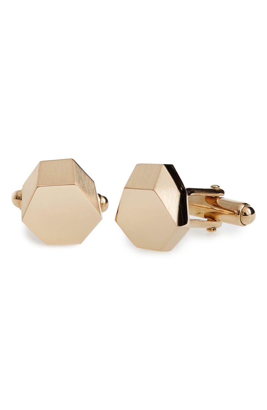 Lanvin Hexagonal Metal Cuff Links