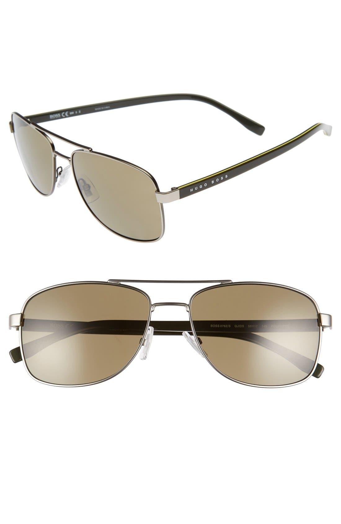 '0762/S' 58mm Polarized Navigator Sunglasses,                         Main,                         color, Matte Ruthenium Khaki