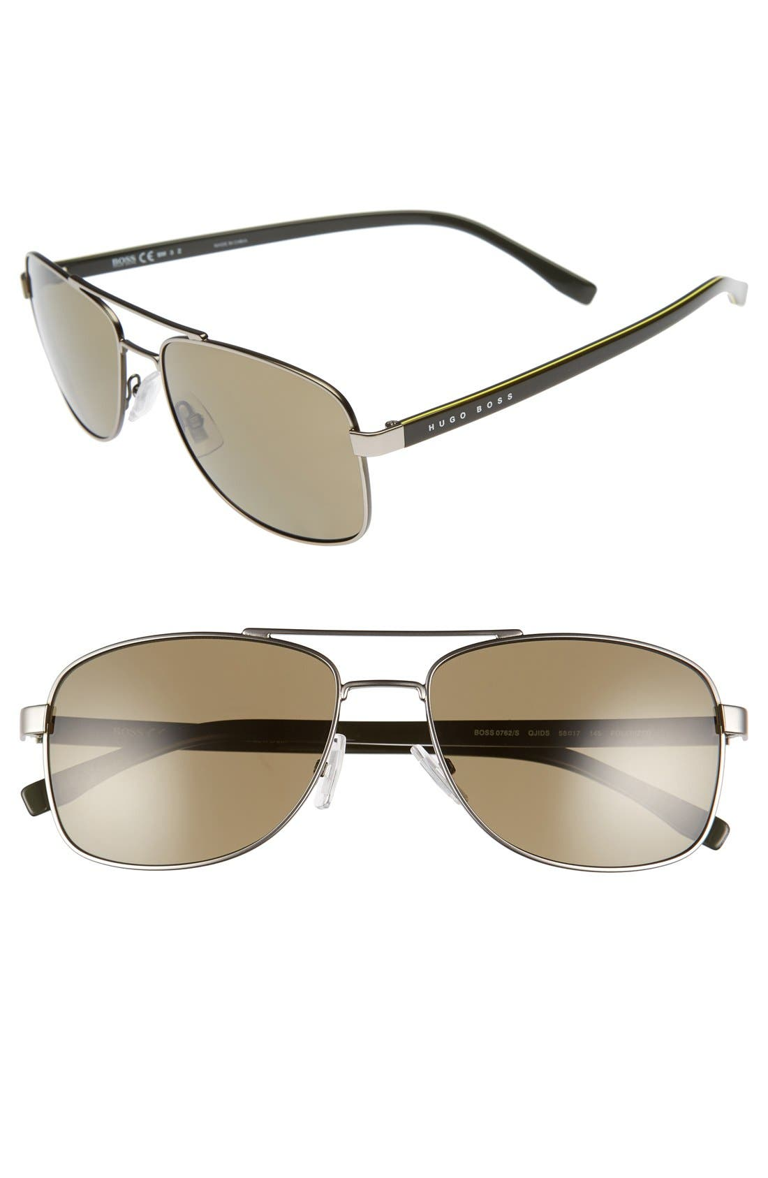 '0762/S' 58mm Polarized Navigator Sunglasses,                         Main,                         color, Matte Ruthenium Khaki