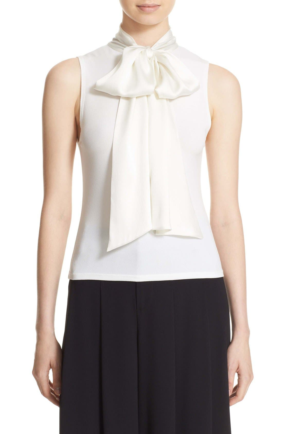 Main Image - Alice + Olivia 'Glynda' High Neck Sleeveless Blouse with Bow