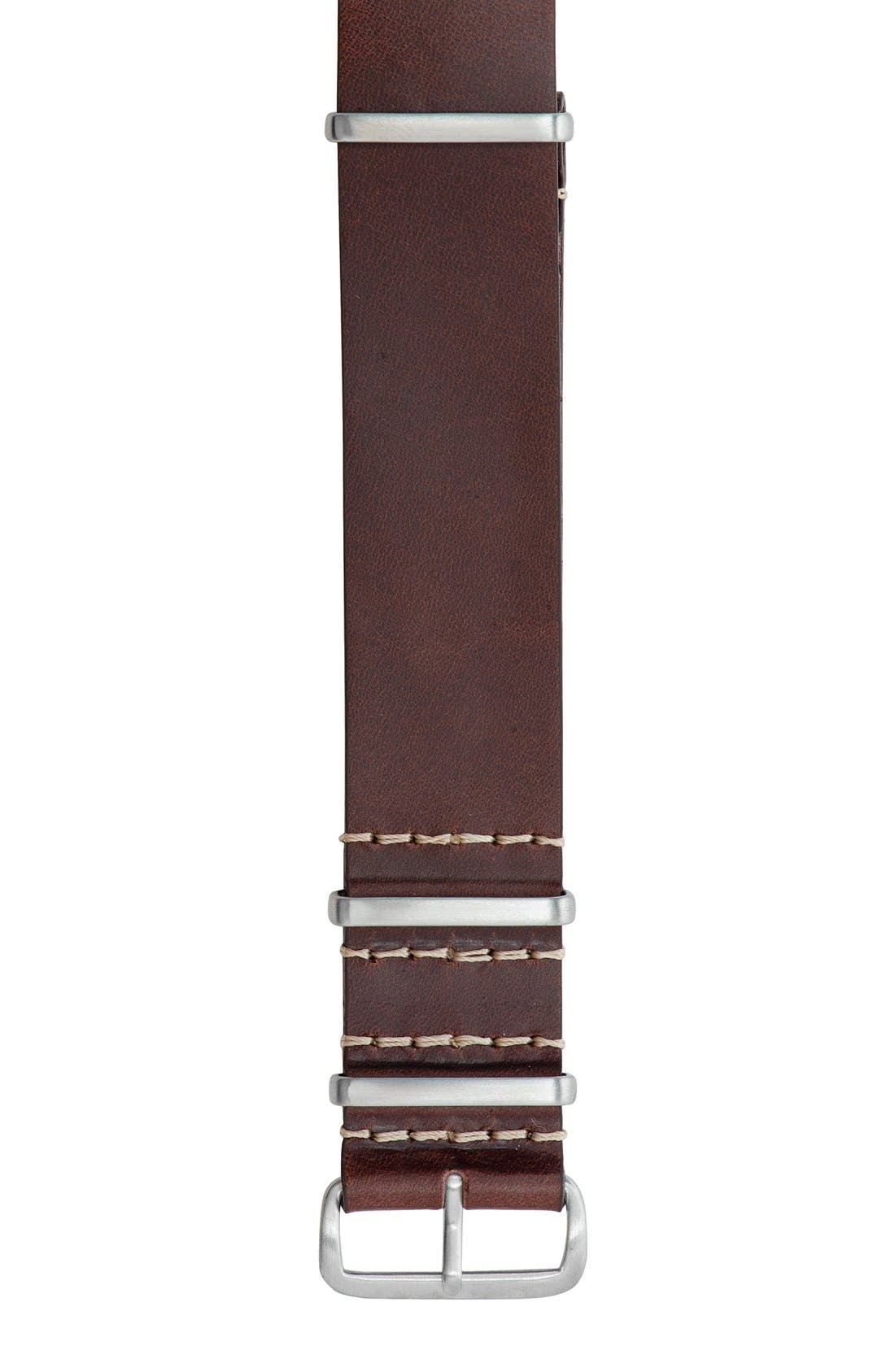 Leather Watch Strap, 22mm,                             Alternate thumbnail 2, color,                             Brown