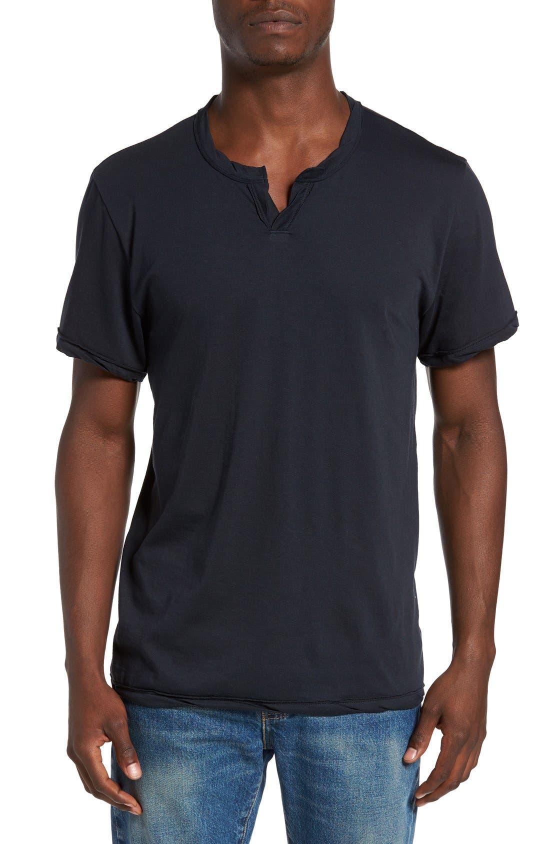 Notched Neck Organic Cotton T-Shirt,                         Main,                         color, Black