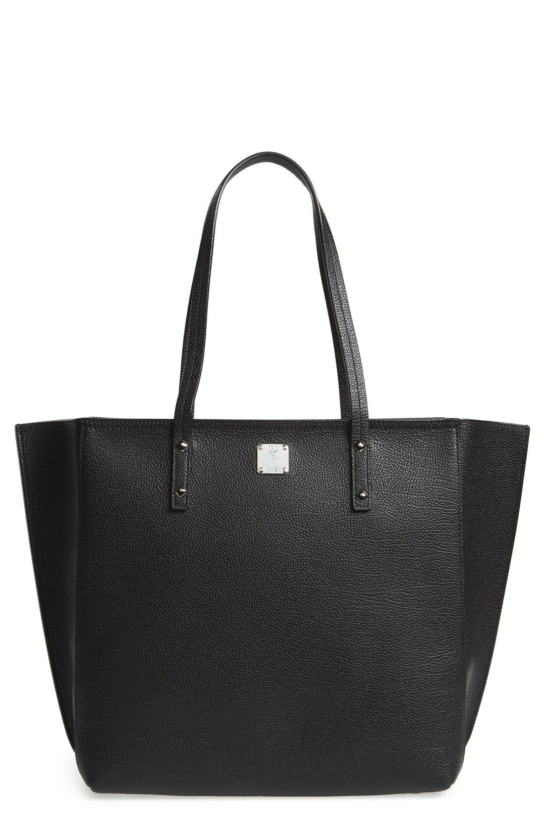 'Medium Sophie' Leather Shopper,                             Main thumbnail 1, color,                             Black