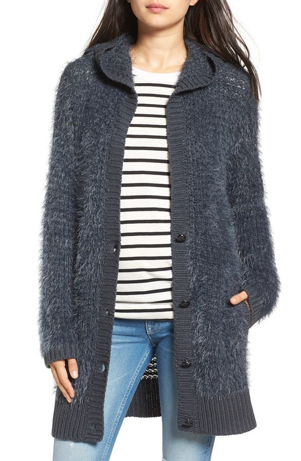 Volcom 'First Like' Fuzzy Hooded Cardigan | Nordstrom